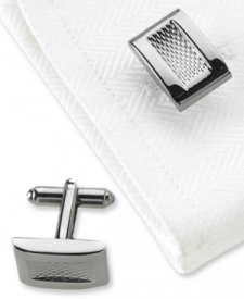 Geoffrey Beene Cufflinks, Polished Black Nickel Square Boxed Set Shoes MEN