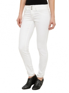 "These skinny white jeans feature five pocket styling with a 3-button and zip closure.; 9"" leg opening; 91% cotton; 7% polyester; 2% spandex; Wash cold; dry low; Imported; FINAL SALE. NO RETURNS OR EXCHANGES"