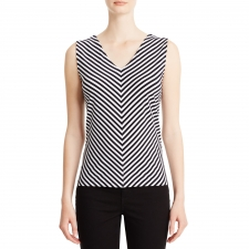 Mitered stripes create flattering lines for what is destined to be one of your summer-favorite tee shirts. A touch of stretch gives it a more flattering fit and greater wrinkle resistance. Women's tee shirts. Pullover. Sleeveless. Machine Wash. Imported.