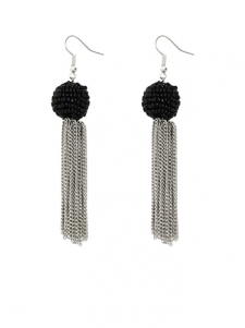 Silver colored chain tassel earrings with black seed bead balls