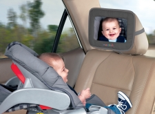 The Munchkin adjustable backseat mirror helps you keep an eye on the road and baby easily and conveniently. The mirror features adjustable straps that will fit on to most headrests and help you keep a close watch on the rear-facing baby. Brand: Munchkin Model: 20046 Name: Munchkin Adjustable Backseat Mirror Dimensions: 12.8 inches high x 9.5 inches wide x 3.2 inches thick Materials: Glass, fabric Size: One size Color: Grey Style: Backseat baby mirror Portable: Yes Age recommendation: Newborn and up Closure: Adjustable straps Safety warnings: This product is not a toy. Keep all parts out of reach of children. Never adjust mirror while driving. An adult should attach product to headrest. When not in use, keep out of reach of children. Package contents: 1 mirror Uses: Car backseat baby mirror
