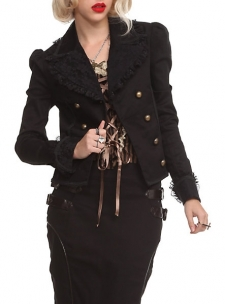 Steampunk style double-breasted jacket with copper tone military style buttons, black floral lace overlays, puffed shoulders, braid trim and pleated tail.; 98% cotton; 2% spandex; Hand wash cold; dry flat; Imported; Listed in junior sizes; FINAL SALE. NO RETURNS OR EXCHANGES