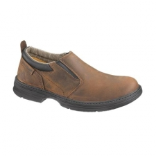 Slip-On Steel Toe Brown Work Boot Keeps You Working Hard Any Time, Anywhere Keep your feet supported, protected and comfortable in the CAT slip-on steel toe brown work boot. These sturdy work shoes have a casual look but offers serious protection. From the full-grain leather uppers to the electro-static dissipative outsoles, these shoes will keep you covered and protected no matter where you're working. Get the job done knowing your shoes work as hard as you do. This slip-on steel toe brown work boot is designed with a number of safety features in mind. The leather upper is both weatherproof and flexible, perfect for keeping your feet dry and comfortable in a variety of conditions. Mesh nylon lines each shoe, offering breathable protection. Soft EVA sock liners make the shoes extra supportive by absorbing shock and are removable for easy cleaning between wears. The shoes also feature Goodyear welt construction at the seams, which forms a durable bond between the upper and lower portions of the shoe.
