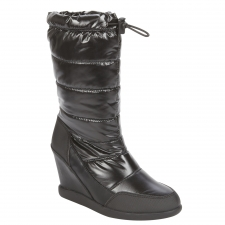 Meet the elements with this wedge boot that is waterproof and features a metallic finish.