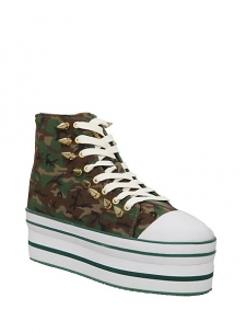 """Stand tall and stand out in these intense camo platform sneakers embellished with brass tone spike studs along the lacing and the heel.; 2 1/2"""" platform; Man-made materials; Imported; Listed in women's sizes; FINAL SALE. NO RETURNS OR EXCHANGES"""