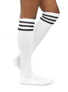 This pair of white crew socks features three black stripes at the top. Extra long, knee-high fit. Cushioned bottom. One size fits most. 75% acrylic. 25% spandex. Wash cold. Dry low. Imported.