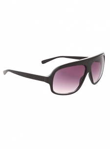 Matte black round frames with tinted lenses.; Imported