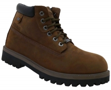 Waterproof leather with natural finish Six eye lace up front with hexagonal metal eyelets Padded collar and tongue Smooth fabric shoe lining Cushioned insole 3/4 inch shock absorbing midsole 1 1/4 inch boot heel Rugged rubber lug traction outsole