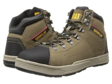 The Brode Hi Steel Toe shoe by Caterpillar offers the same superior protection and cushioning that a work boot provides so you can get through your work day in total comfort. Smooth pigmented leather or suede upper. Soft nylon lining for better breathability. Nylex footbed has a molded EVA design for better cushioning and support. Cement construction provides better flexibility and durability throughout the shoe. Slip-resistant T1080 rubber outsole for superior traction. Steel Toe and Electrical Hazard rated: ASTM F2413-11 I/75 C/75, which is the highest possible strength for impact and compression. Measurements: Heel Height: 1 inWeight: 1 lb 10 ozProduct measurements were taken using size 11.5, width D - Medium. Please note that measurements may vary by size.