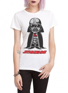Fitted tee with Darth Vader standing above a; Star Wars; logo.; 100% cotton; Wash cold; dry low; Imported; Listed in junior sizes