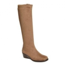 """This chic knee-high boot is this season's ultimate style. Double zipper entry gives you the flexibility to extend the shaft up to 2"""" to accommodate thick socks or tucked-in jeans. The 1 3/4"""" wedge is ideal for all-day wear. Heel Rest Technology offers added comfort when out and about. Heel Height: 1 3/4"""" Shaft Height: 15 3/4"""" (size 7) Circumference: 14 1/4"""" (Size 7) Fit: True to Size Upper: Faux leather, Fabric Special Features: Wedge"""