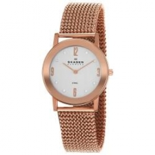 Skagen Designs was founded 1989 by two natives of Copenhagen, Henrik and Charlotte Jorst on the principle that beautifully designed high-quality objects can be created at reasonable prices. This watch features a rose goldtone steel stretch mesh bracelet. Case: Rose goldtone PVD steel Caseback: Snap-down Bezel: Mirror Dial: Silver Hands: Rose goldtone Markers: Rose goldtone Arabic numerals and eight Swarovski crystal hour markers Bracelet: Rose goldtone stretch mesh Crystal: Mineral Crown: Push/pull Movement: Quartz Case measurements: 32 mm in diameter x 6 mm thick Bracelet measurements: 18 mm wide x 7 inches long Box measurements: 3 inches wide x 3 inches long x 4 inches high Model: 39LRR1 All measurements are approximate and may vary slightly from the listed dimensions. Women's watch bands can be sized to fit 6.5-inch to 7.5-inch wrists.