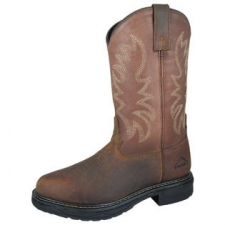 The Smoky Mountain Brown Buffalo Wellington Boots are durable boots designed with eye-catching and stylish stitching on the shaft, a tough tread rubber sole, along with a round soft-toe. - Leather upper and lining- Steel shank- Tuff Tred sole- Round toe- EH rated- Polyurethane orthotic insole- Goodyear Welt construction- Soft Toe- New: In Original Box