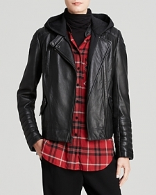 Vince Jacket - Removable Hood Leather Moto-Contemporary