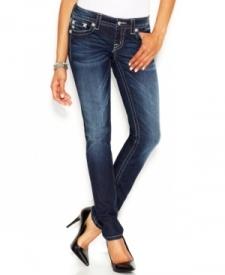 Miss Me Rhinestone Flap-Pocket Skinny Jeans, Dark Blue Wash Women Women's Clothing - Jeans