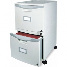 Functional and lightweight, the Mobile Filing Cabinet is the perfect storage solution for those in need of professional and affordable filing. The included locking casters make the cabinet easy to move and secure. The durable polypropylene construction allows this cabinet to be stackable as well as moisture and rust resistant. Individually locking doors (two keys per drawers included) Won't scratch, rust or dent Accepts hanging file folders in letter or legal sizes Color: Black, grey Materials: Polypropylene Finish: Smooth Dimensions: 26 inches high x 14.75 inches wide x 18.25 inches deep Number of drawers/compartments: Two (2) Model: 61301B01C