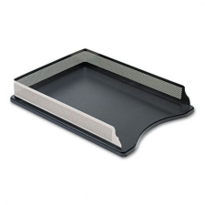 A solid wood base and sturdy steel construction give this front-loading tray a unique look. Self-stacking feature keeps desktop space efficient. Tray includes nonskid feet to protect desktop. Sturdy, Nonskid Materials: Metal, wood Color: Black Model: E23565 Dimensions: 2.4 inches high x 10.9 inches wide x 14.4 inches long Pack of: 4 each