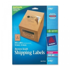Shipping labels completely cover what's underneath so corrugated boxes can be reused. Kraft material matches brown box color and makes new logos, addresses and messages on the labels appear to be printed directly on the box. Kraft color provides a printed on look. Labels are compatible with laser and inkjet printers and work with major internet postage service software. Label paper is made with a high percentage of recycled material and with a chlorine-free process. The labels are recyclable. Acid-free, jam-free, smudge-free Materials: Kraft Color: Brown Kraft Model: 5783 Dimensions: 0.1 inches high x 9.4 inches wide x 12.1 inches long Pack of: 50 each
