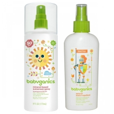Sunscreen Spray is a mineral- based SPF formulas provide broad spectrum UVA/UVB protection and glides on smooth for effortless application. Natural Insect Repellent is a natural DEET free insect repellent. The power of natural essential aromatic oils (Citronella, Peppermint, Rosemary, Lemongrass and Geranium) keeps babies safe and free. The blend of essential oils is pungent to insects, especially mosquitoes, smells great and is safe for whole family. We've got the creepy critters covered. High school will be up to you. Features: Combo Pack- 6-ounce SPF 50 mineral-based sunscreen and 6-ounce natural insect repellent. Mineral-Based sunscreen provides UVA plus UVB protection and is tear free and water resistant (80 minutes). Natural Insect Repellent is made with 100-percent natural essential oils to help keep mosquitoes, gnats and flies away. No parabens, sulfates, phthalates or artificial fragrances. Title: BabyGanics 5. 98-ounce Sunscreen Spray SPF 50 And 6 Ouce Bug Spray Duo Pack Brand: BabyGanics Model: 01231 Name: BabyGanics 5. 98-ounce Sunscreen Spray SPF 50 And 6 Ouce Bug Spray Duo Pack Ingredients: Sunscreen's active ingredients: zinc oxide, octinoxate, octisalate; Sunscreen's inactive ingredients: water, caprylic/capric triglyceride, glycerin, vp/hexadecene copolymer, glyceryl stearate, hexaglyceryl polyricinoleate, polysorbate 80, phenethyl alcohol, glyceryl caprylate, sodium magnesium silicate, xanthan gum, hydroxyethyl acrylate/sodium acryloyldimethyltaurate copolymer, citric acid, squalane, lecithin, polysorbate 60, aloe barbadensis leaf juice, sorbitan isostearate. (Insect repellent) soybean oil, citronella oil, rosemary oil, lemongrass oil, peppermint oil, geranium oil SPF: 50 Tear free: Yes Measurements: 1. 5 inches long x 5 inches wide x 7. 7 inches high Capacity: sunscreen 5. 98-ounce, repellent 6-ounce Weight: 1 pound Scent: Fragrance free