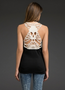 Black racerback tank with ivory cutout crochet lace skull back Soft & stretchy Polyester/rayon/spandex Imported #10323440