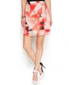 Vince Camuto Geo-Print A-Line Skirt Women Women's Clothing - Skirts