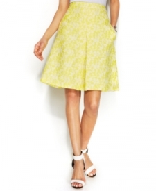 Vince Camuto Jacquard Pleated A-Line Skirt Women Women's Clothing - Skirts