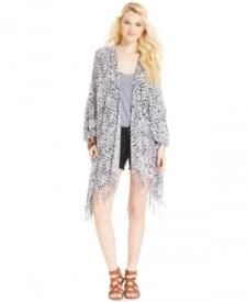 American Rag Printed Fringed Kimono Juniors Juniors' Clothing - Jackets & Coats - Jackets & Vests