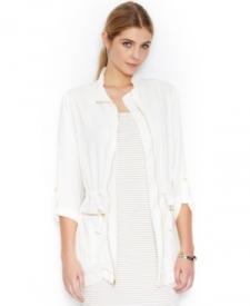 Bar Iii Long-Sleeve Cinch-Waist Zip-Pocket Jacket Women Women's Clothing - Jackets & Blazers