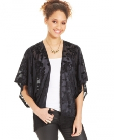 Energie Juniors' Fringed Flocked Velvet Kimono Juniors Juniors' Clothing - Jackets & Coats - Jackets & Vests