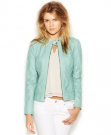 Guess Banded-Collar Perforated Faux-Leather Bomber Jacket Women Women's Clothing - Jackets & Blazers