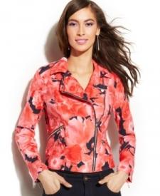INC International Concepts Floral-Print Linen Moto Jacket Women Women's Clothing - Jackets & Blazers