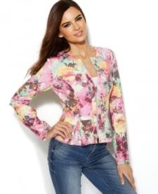 INC International Concepts Floral-Print Peplum Scuba Jacket Women Women's Clothing - Jackets & Blazers