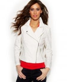 INC International Concepts Lace Moto Jacket Women Women's Clothing - Jackets & Blazers