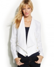 INC International Concepts Linen Moto Jacket Women Women's Clothing - Jackets & Blazers
