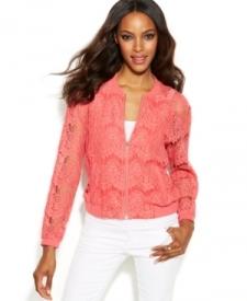 INC International Concepts Scalloped Lace Bomber Jacket Women Women's Clothing - Jackets & Blazers