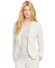 Lauren Ralph Lauren Silk-Linen Blazer Women Women's Clothing - Jackets & Blazers