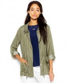 Maison Jules Stand-Collar Military Jacket Women Women's Clothing - Jackets & Blazers