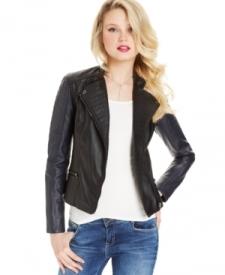 Marilyn Monroe Juniors' Faux-Leather Colorblock Jacket Juniors Juniors' Clothing - Jackets & Coats - Jackets & Vests