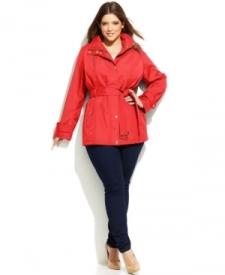 Michael Michael Kors Plus Size Hooded Belted Jacket Women Women's Clothing - Coats
