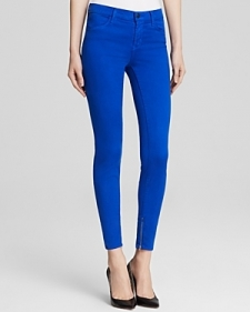 J Brand Jeans - Luxe Sateen Zip Hem Crop in Electric Blue-Contemporary