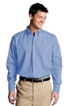 Easy care poplin long sleeve shirt is soft, colorful and hardworking. This performance poplin stands up to demanding wear. Perfect for restaurants, delivery services or any image apparel where perfomance counts. Embroiders well.