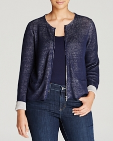 Eileen Fisher Plus Zip Front Knit Jacket-Plus Sizes
