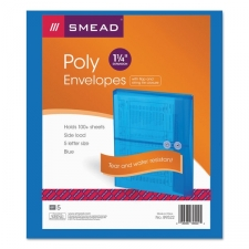 "Super durable polypropylene resists tears and repels moisture. Tough and acid free these colorful envelopes feature 1-1/4"" gussets big enough to hold over 200 sheets of paper. String-tie closure secures contents. String and Tie Closure. Translucent material. Archival quality. Size: Letter. Material: Ultracolor poly. Color: Blue. Expansion: 1-1/4"". Quantity Per Box: 24."