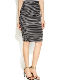 Vince Camuto Ruched Striped Tube Skirt Women Women's Clothing - Skirts