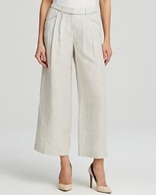 Lafayette 148 New York Cropped Wide Leg Linen Pants-Women