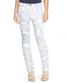 Lauren Ralph Lauren Paisley Print Straight Leg Jeans in White Multi-Women