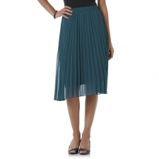 You may find yourself walking and spinning around the office because this petite's pleated chiffon skirt by Covington is so fun to wear. An elastic waist offers a comfortable fit, while accordion pleats create a breezy, flared design. A satin lining beneath is silky to the touch, while providing modesty to this knee-length skirt.