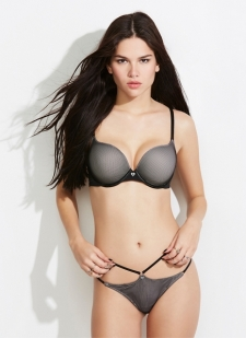 Black fishnet bra with smooth grey cups and plunging neckline Our most amped up lift adds 2 sizes; creates cleavage Convertible straps: wear crossback or classic Nylon/rayon/spandex Imported #10254669