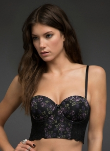 Black vintage bra with floral lace, side boning, and hook-and-eye closure back Padded cups with underwire Adjustable straps Search SKU: 10251865 for matching thong Nylon/spandex Imported #10250845
