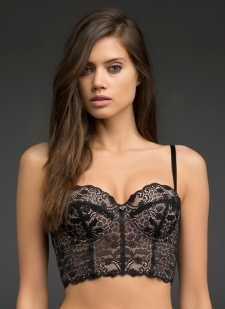 Black floral lace longline bra with smooth dusty rose cups and lining Lightly padded cups with underwire and side boning Covertible straps can be worn crossback, crossfront, or straight Hook-and-eye closure back Nylon/spandex Imported #10250865